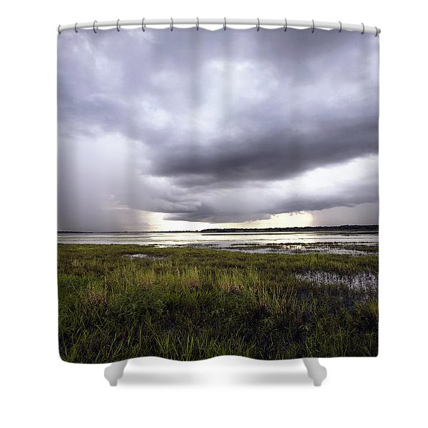 Summer Storm Over the Lake Shower Curtain by Skip Nall