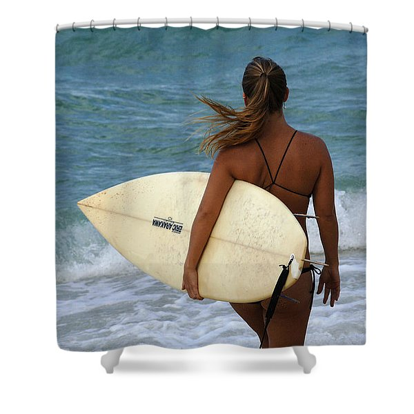 Surfer Girl Shower Curtain by Bob Christopher