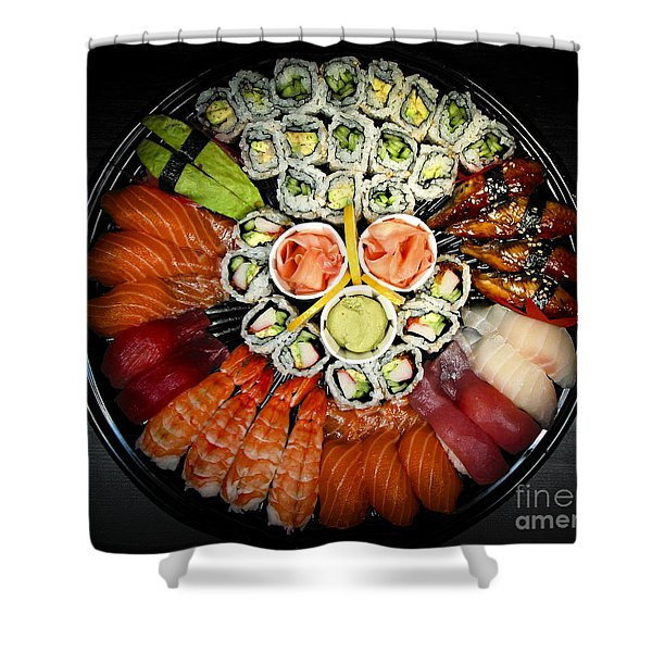 Sushi party tray Shower Curtain by Elena Elisseeva