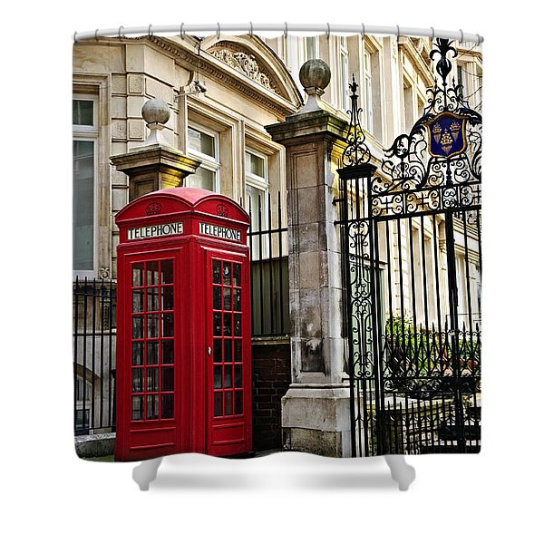 Telephone box in London Shower Curtain by Elena Elisseeva