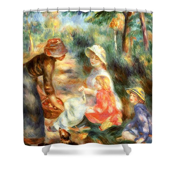 The Apple Seller Shower Curtain by Pierre-Auguste Renoir
