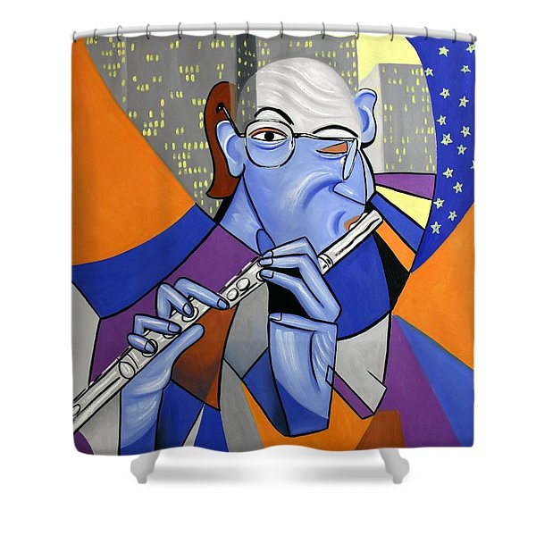 The Flutist Shower Curtain by Anthony Falbo