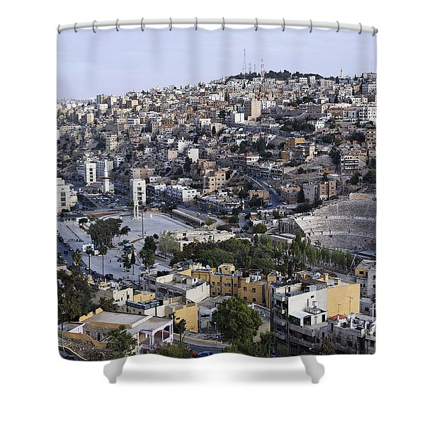 The Roman Theatre In The Middle Of The City Of Amman Jordan Shower Curtain by Robert Preston