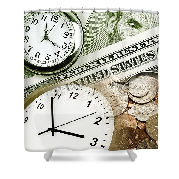 Time is money concept Shower Curtain by Les Cunliffe