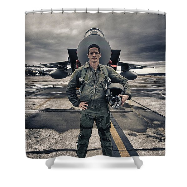 U.s. Air Force Pilot Standing In Front Shower Curtain by Terry Moore