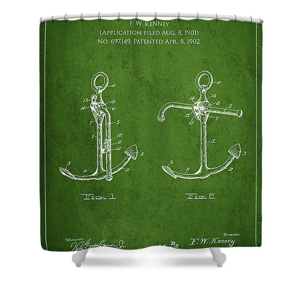 Vintage Anchor Patent Drawing from 1902 Shower Curtain by Aged Pixel