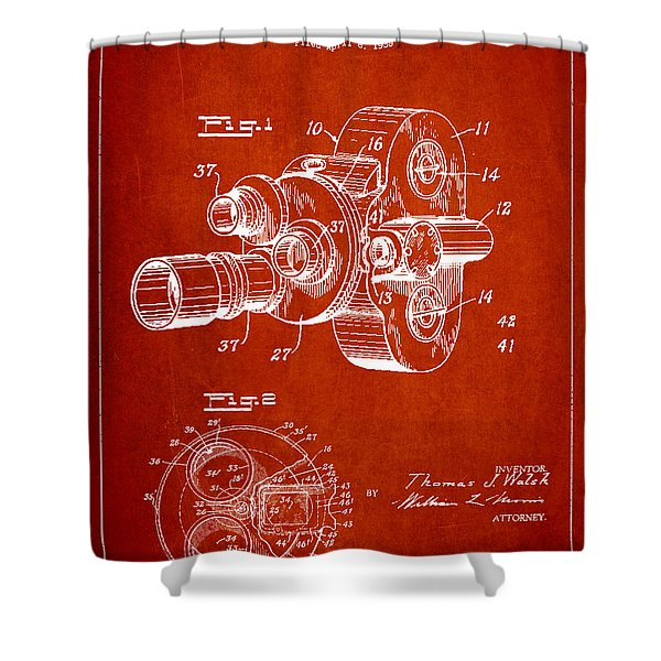 Vintage Camera Patent Drawing from 1938 Shower Curtain by Aged Pixel