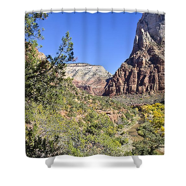 Virgin River View -zion Shower Curtain by Jon Berghoff