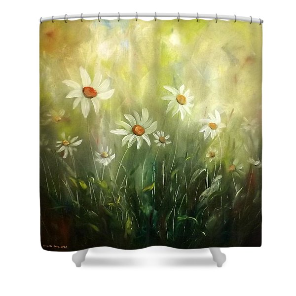 Shower Curtains - White Daisies Shower Curtain by Gina De Gorna