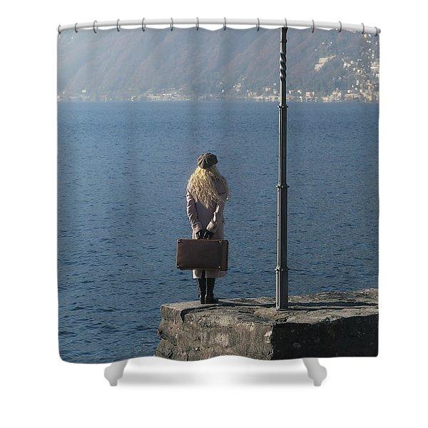 woman on jetty Shower Curtain by Joana Kruse