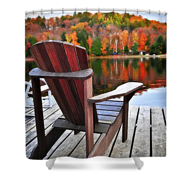 Wooden Dock On Autumn Lake Shower Curtain by Elena Elisseeva