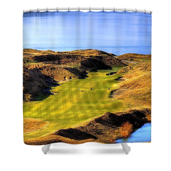 10th Hole At Chambers Bay Shower Curtain by David Patterson