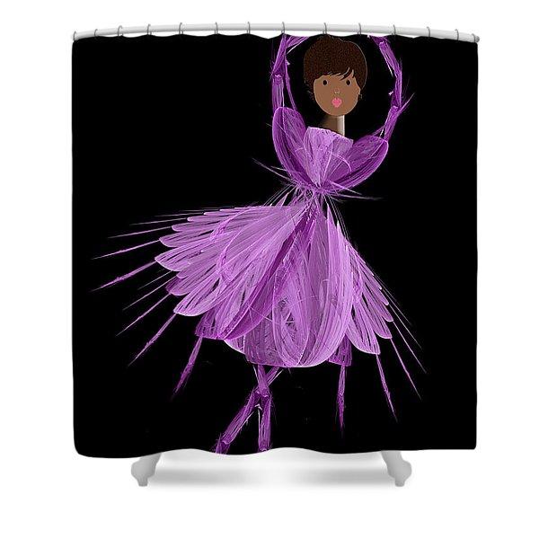 11 Purple Ballerina Shower Curtain by Andee Design