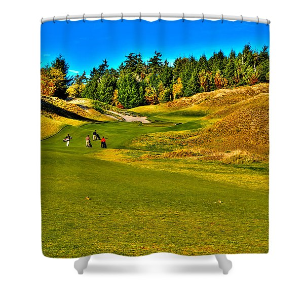 #12 at Chambers Bay Golf Course - Location of the 2015 U.S. Open Tournament Shower Curtain by David Patterson