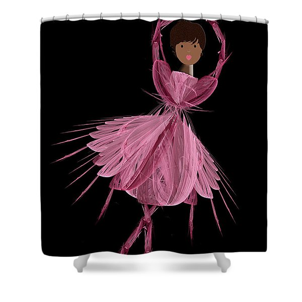 12 Pink Ballerina Shower Curtain by Andee Design