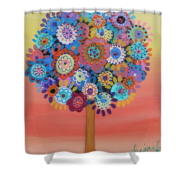 Tree Of Life Shower Curtain by Pristine Cartera Turkus