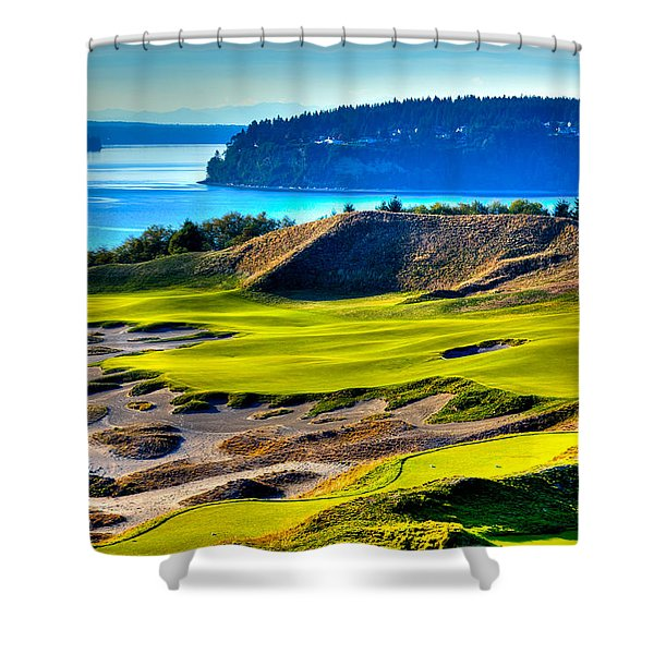 #14 at Chambers Bay Golf Course - Location of the 2015 U.S. Open Tournament Shower Curtain by David Patterson