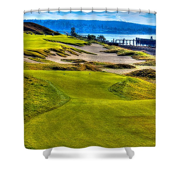 #16 at Chambers Bay Golf Course - Location of the 2015 U.S. Open Championship Shower Curtain by David Patterson