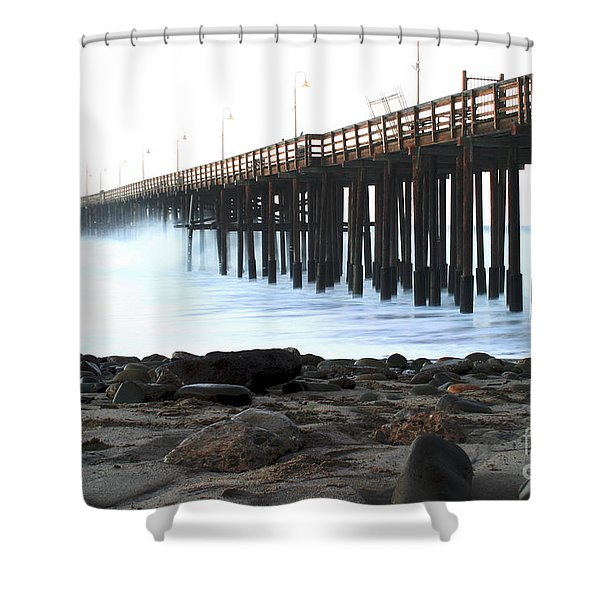 Ocean Wave Storm Pier Shower Curtain by Henrik Lehnerer