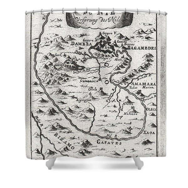 1719 Mallet Map of the Source of the Nile Ethiopia Shower Curtain by Paul Fearn