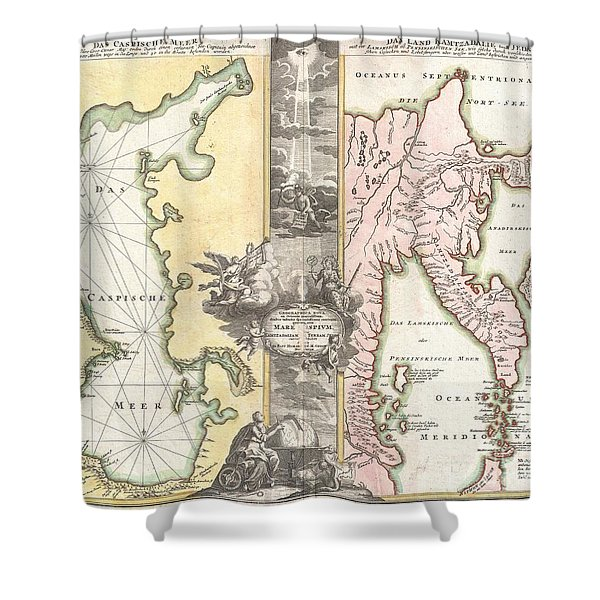1725 Homann Map of the Caspian Sea and Kamchatka Shower Curtain by Paul Fearn