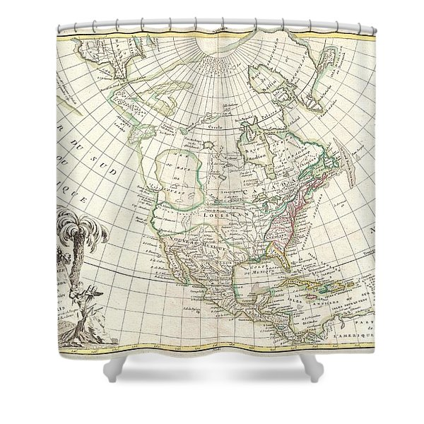 1762 Janvier Map of North America  Shower Curtain by Paul Fearn