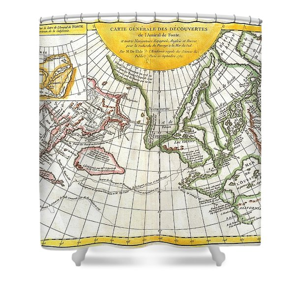 1772 Vaugondy and Diderot Map of the Pacific Northwest and the Northwest Passage Shower Curtain by Paul Fearn
