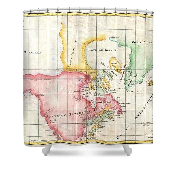 1772 Vaugondy And Diderot Map The North America Illustrating Clunys Voyages Shower Curtain by Paul Fearn