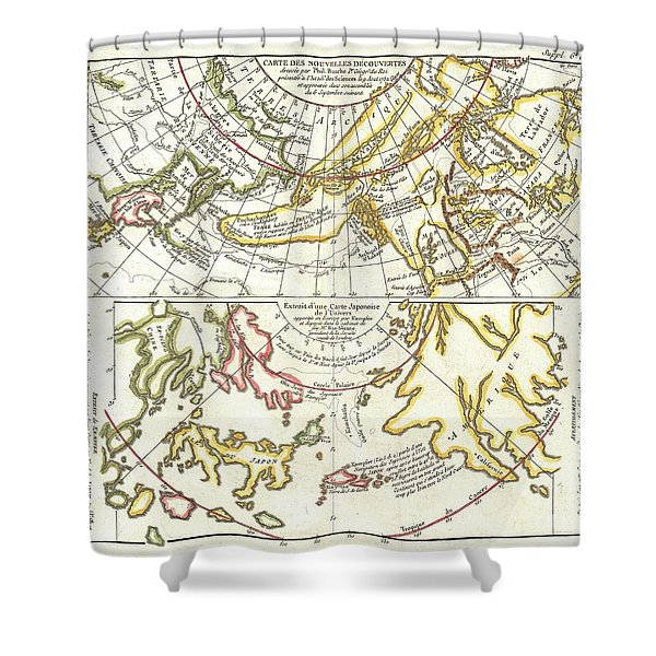 1772 Vaugondy Diderot Map of Alaska the Pacific Northwest and the Northwest Passage Shower Curtain by Paul Fearn