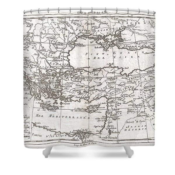 1780 Raynal and Bonne Map of Turkey in Europe and Asia Shower Curtain by Paul Fearn