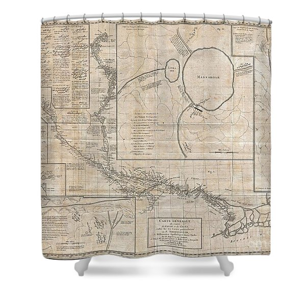 1784 Tiefenthaler Map of the Ganges and Ghaghara Rivers India Shower Curtain by Paul Fearn