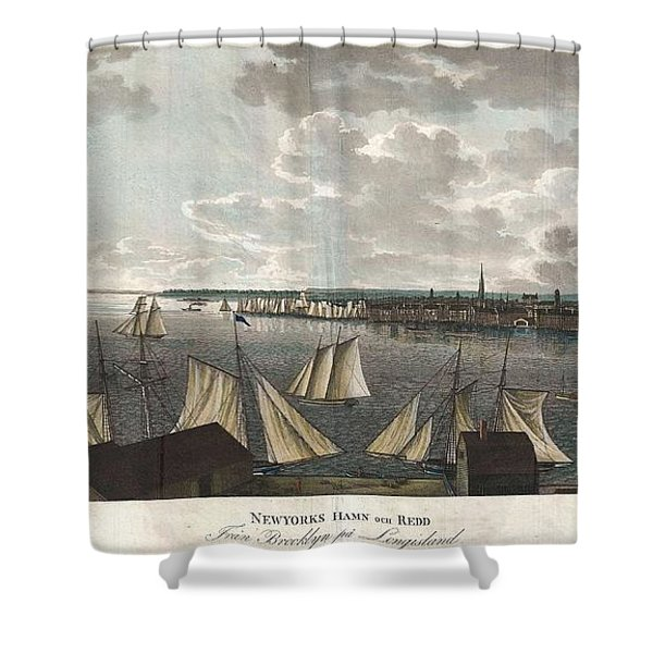 1824 Klinkowstrom View of New York City from Brooklyn  Shower Curtain by Paul Fearn