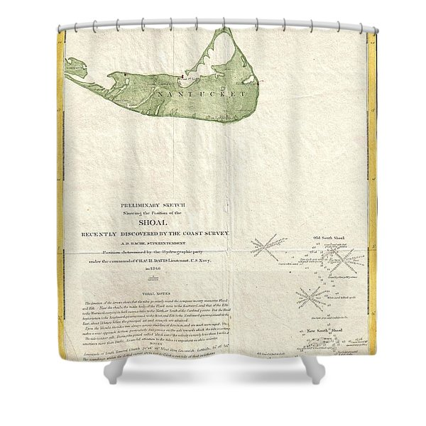 1846 US Coast Survey Map of Nantucket  Shower Curtain by Paul Fearn