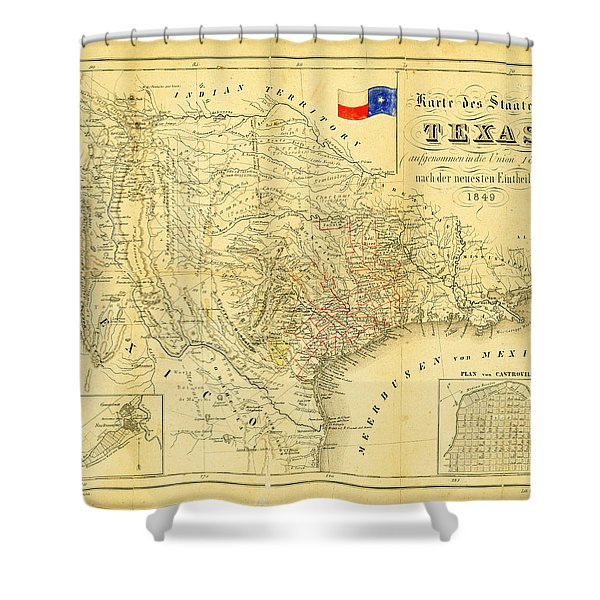 1849 Texas Map Shower Curtain by Digital Reproductions