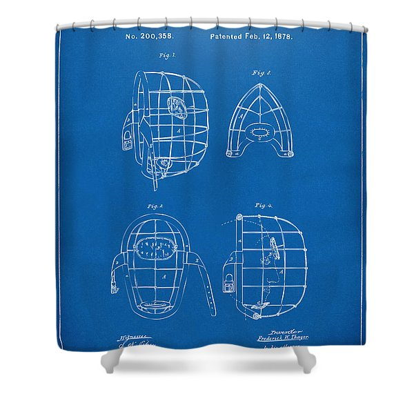 1878 Baseball Catchers Mask Patent - Blueprint Shower Curtain by Nikki Marie Smith