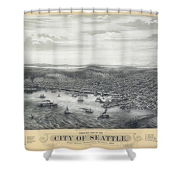 1878 Seattle Washington Map Shower Curtain by Daniel Hagerman