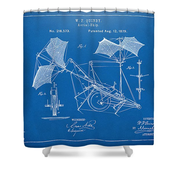 1879 Quinby Aerial Ship Patent - Blueprint Shower Curtain by Nikki Marie Smith