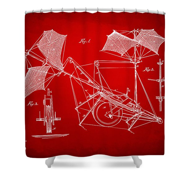 1879 Quinby Aerial Ship Patent Minimal - Red Shower Curtain by Nikki Marie Smith