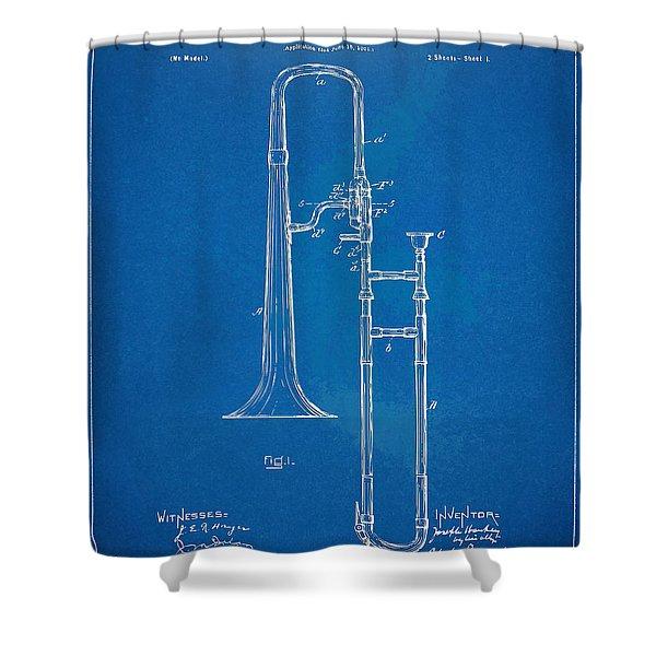 1902 Slide Trombone Patent Blueprint Shower Curtain by Nikki Marie Smith