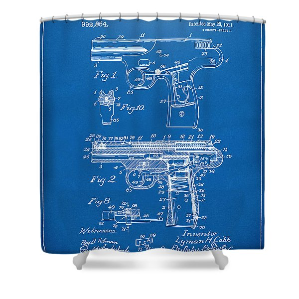 1911 Automatic Firearm Patent Artwork - Blueprint Shower Curtain by Nikki Marie Smith
