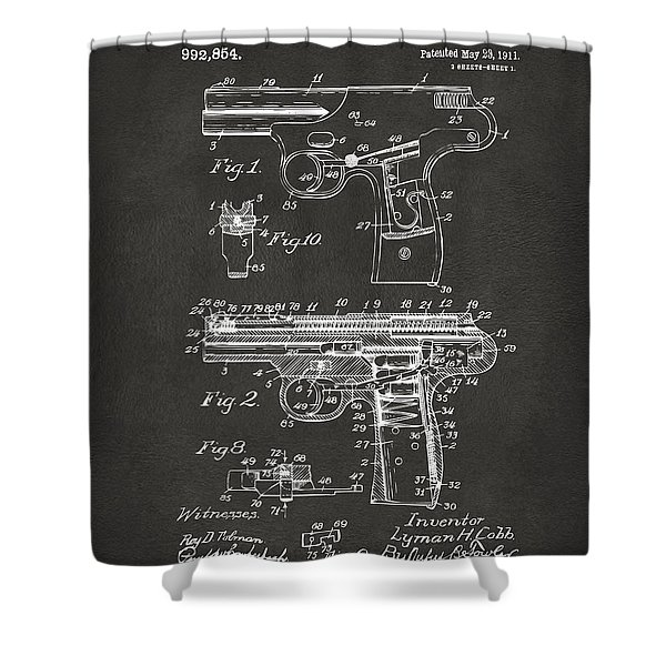 1911 Automatic Firearm Patent Artwork - Gray Shower Curtain by Nikki Marie Smith