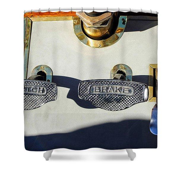 1911 Pope Hartford Model W 4 Cylinder 50 HP 7 Passenger Brake-Clutch Pedals Shower Curtain by Jill Reger