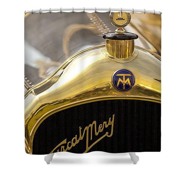 1913 Turcat-mery Mj Boulogne Torpedo Hood Ornament And Emblem Shower Curtain by Jill Reger
