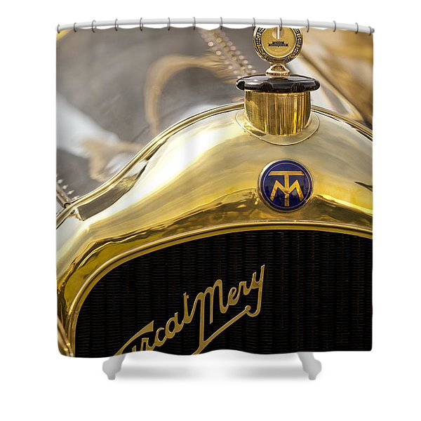 1913 Turcat-Mery MJ Boulogne Torpedo Hood Ornament and Emblem Shower Curtain by Jill Reger