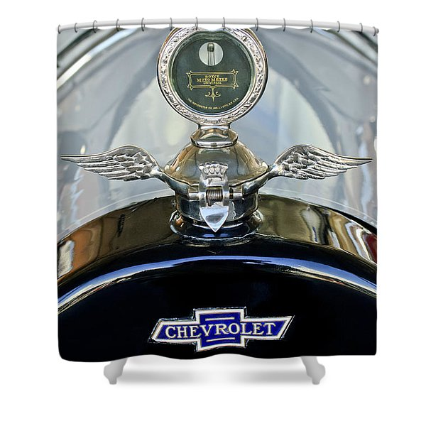 1915 Chevrolet Touring Hood Ornament Shower Curtain by Jill Reger