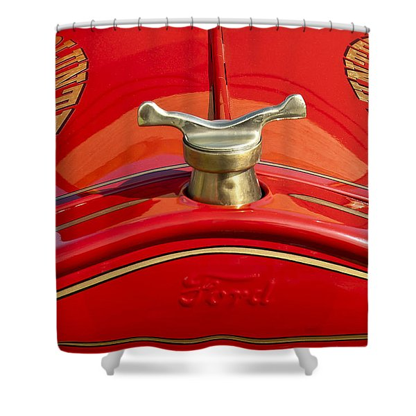 1919 Ford Volunteer Fire Truck Shower Curtain by Jill Reger