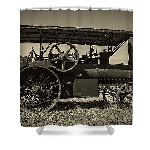 1921 Aultman Taylor Tractor Shower Curtain by Debra and Dave Vanderlaan