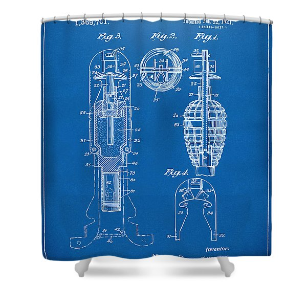 1921 Explosive Missle Patent Blueprint Shower Curtain by Nikki Marie Smith