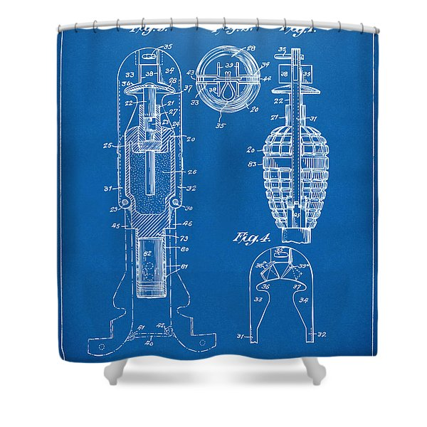 1921 Explosive Missle Patent Minimal Blueprint Shower Curtain by Nikki Marie Smith