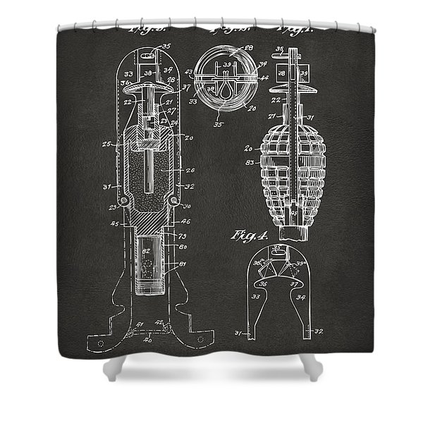 1921 Explosive Missle Patent Minimal Gray Shower Curtain by Nikki Marie Smith